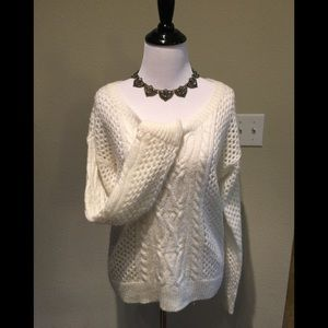 Apt 9 Sexy see though cable white knit small GUC